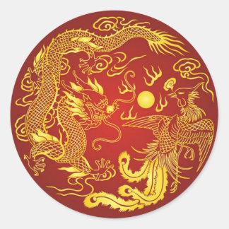 Gold Red Dragon Phoenix Chinese Wedding Favor Round Sticker