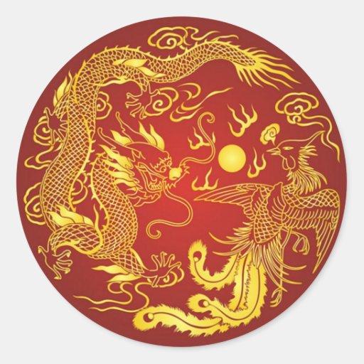Gold Red Dragon Phoenix Chinese Wedding Favor Round Stickers