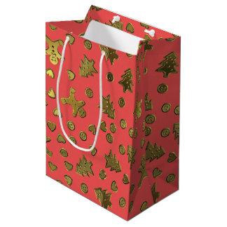 Gold Red Ginger Bread Pattern Christmas Gift Bag