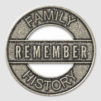 Gold Remember Family History Metal Button Stickers