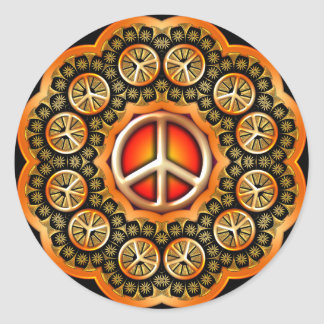 GOLD RETRO FLOWERS PEACE SIGN STICKERS