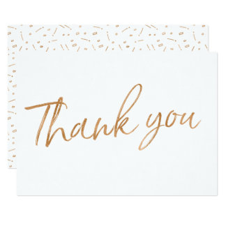 """Gold Rose Calligraphy Hand Lettered Wedding """"Thank Card"""