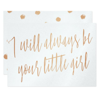 """Gold Rose """"I will always be your little girl"""" Card"""