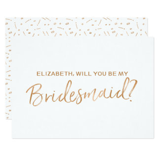 "Gold Rose Lettered ""Will you be my bridesmaid"" Card"