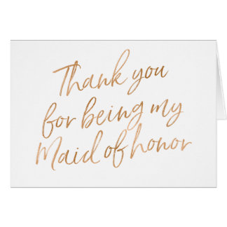 "Gold Rose ""Thank you for being my maid of honour"" Card"
