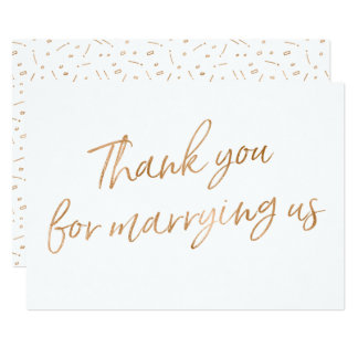 """Gold Rose """"Thank you for marrying us"""" Card"""