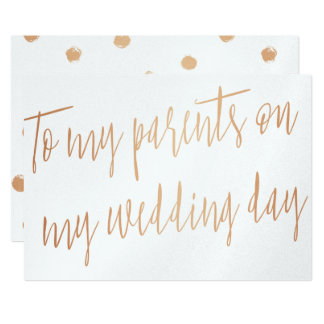 """Gold Rose """"To my parents on my wedding day"""" 13 Cm X 18 Cm Invitation Card"""