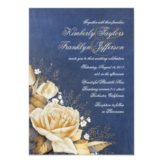 Gold Rose Vintage Navy Floral Wedding 13 Cm X 18 Cm Invitation Card