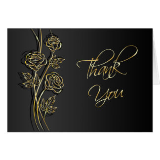 Gold roses on black, swirls Wedding Thank You Note Card