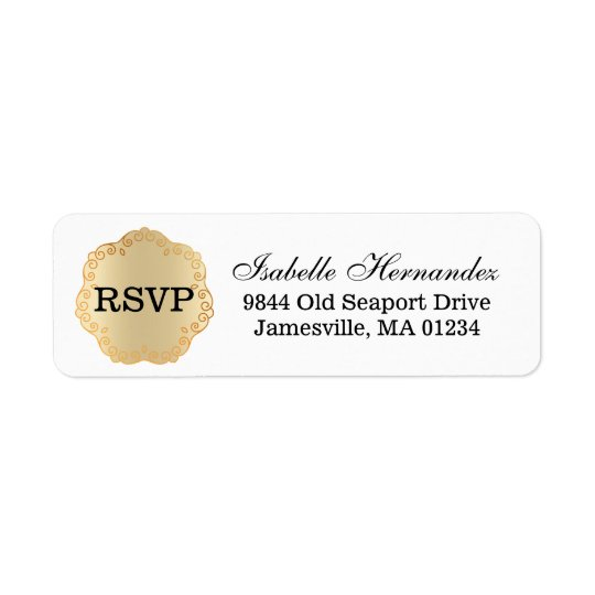 Gold RSVP Medallion Return Address Label