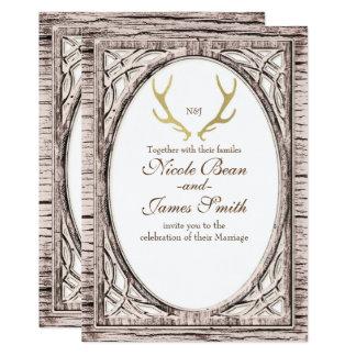 Gold Rustic Deer Antlers White Wood Invitation