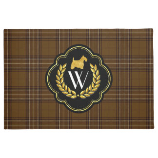 Gold Scottie, Wreath and Monogram Doormat