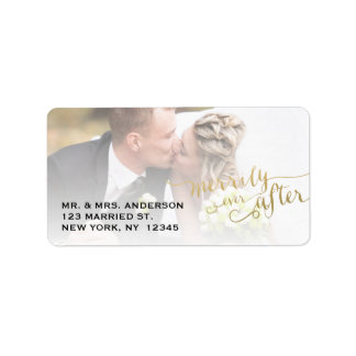 Gold Script Merrily Ever After | Holiday Photo Address Label
