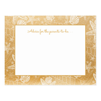 Gold Sea Shells Baby shower Advice, prayers 3988 Postcard