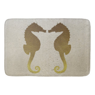 Gold Seahorses on White Sand Bath Mat