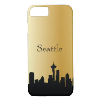Gold Seattle Silhouette Phone & Ipad Cases
