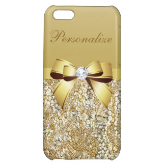 Gold Sequins, Bow & Diamond Personalized iPhone 5C Cover