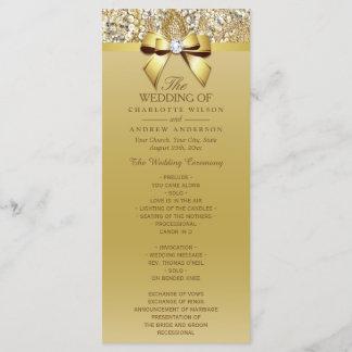 Gold Sequins Diamond Bow Wedding Program