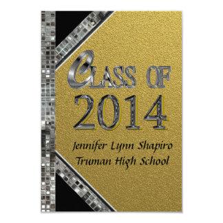"""Gold & Silver 2014 Graduation Invitations 3.5"""" X 5"""" Invitation Card"""