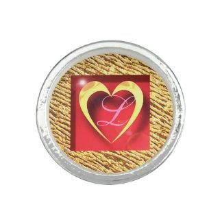 Gold & Silver Love Heart Monogram L Round Ring