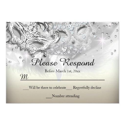 Gold & Silver Sparkle Masquerade RSVP Reply Custom Invitations