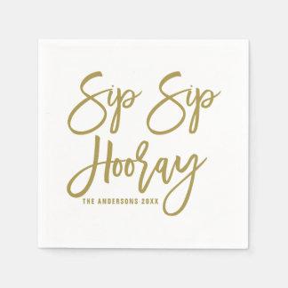 Gold Sip Sip Hooray Hand Lettered Paper Napkins Disposable Serviette