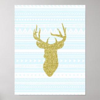 Gold Sky Blue Nursery Decor Deer Tribal Pattern Poster