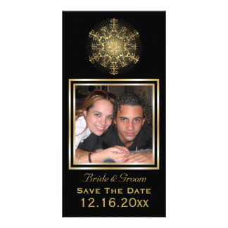 Gold snowflake black winter wedding Save the Date Customized Photo Card
