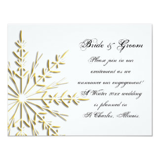 Gold Snowflake Winter Engagement Announcement