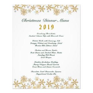 Gold Snowflakes Christmas Dinner Menu 11.5 Cm X 14 Cm Flyer