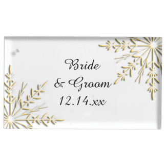 Gold Snowflakes on White Winter Wedding Place Card Holder