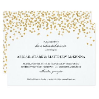 Gold Sparkle Confetti Rehearsal Dinner Invitation