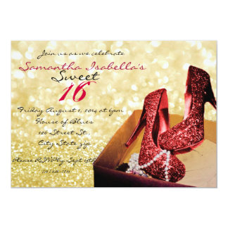 Gold Sparkle Sweet 16 13 Cm X 18 Cm Invitation Card