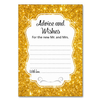 Gold Sparkle Wedding Advice & Wishes Card Vertical