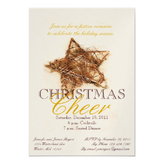 Gold Star Christmas Dinner Party Invitations