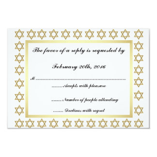 Gold Star of David Bar/Bat Mitzvah RSVP Card