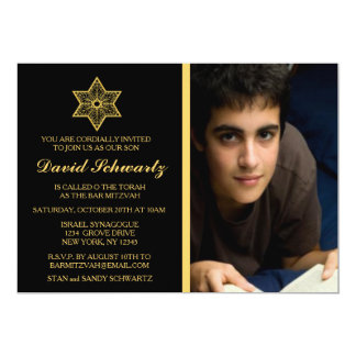 Gold Star of David Bar Mitzvah Picture Invitation