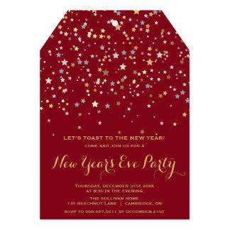 Gold Stars Confetti   New Year's Eve Invitation
