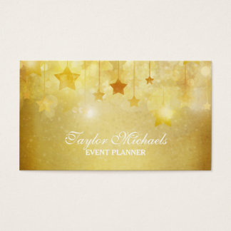 Gold Stars Glitter Event Planner Business Card