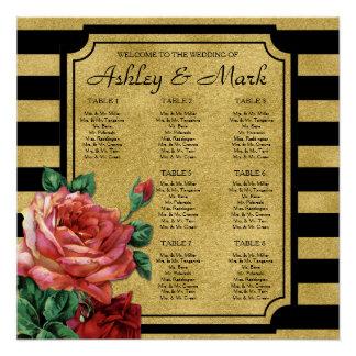 Gold Stripes Rose Flower Wedding Seating Chart