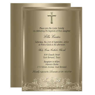 Gold Swirl Snowflake & Cross Girl Baptism Invite
