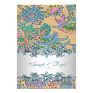 Gold Teal Blue Paisley Indian Wedding Reception Custom Invite