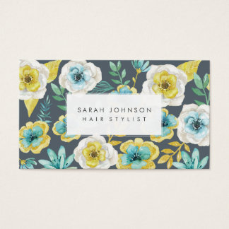 Gold Teal Floral Hair Stylist Business Cards