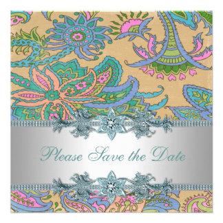 Gold Teal Paisley Indian Wedding Save the Date Invites