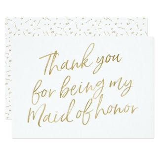 "Gold ""Thank you for being my maid of honour"" Card"