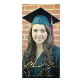 Gold Thank You Script Overlay Graduation Photo Customized Photo Card
