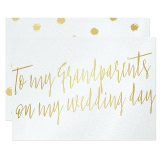 "Gold ""To my grandparents on my wedding day"" 13 Cm X 18 Cm Invitation Card"