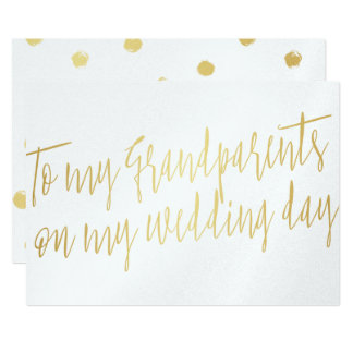"""Gold """"To my grandparents on my wedding day"""" Card"""