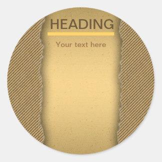 Gold Torn Edge Effect template text banner Round Sticker