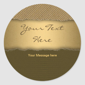 Gold Torn Edge Effect template text banner Round Sticker